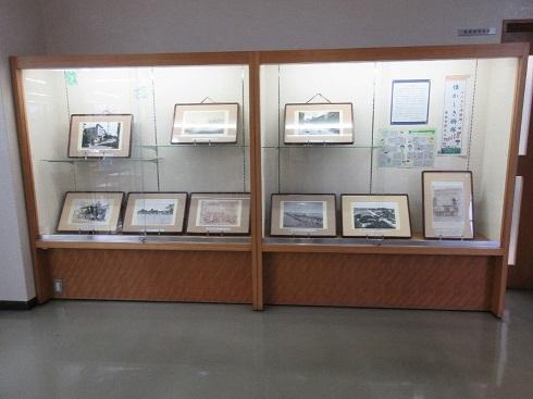 『懐かしき掛塚』というテーマで展示を行っている展示ケースの写真